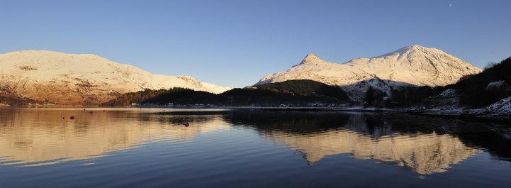 Sights in Scotland, snowy mountain Glencoe