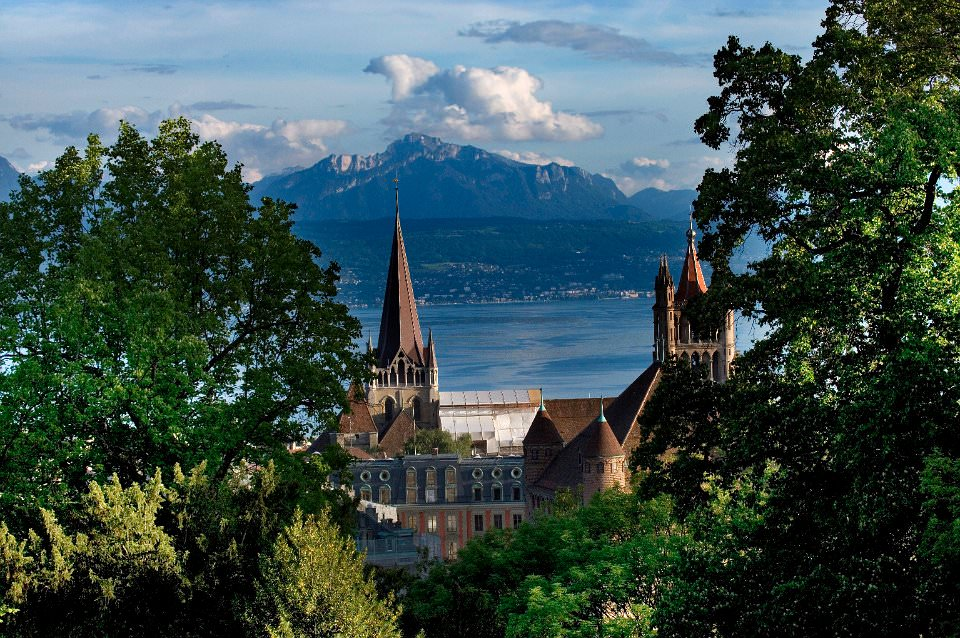 Lausanne overlooking Lac Leman and the Alps