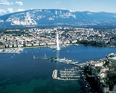 view of beautiful sights in switzerland in geneva