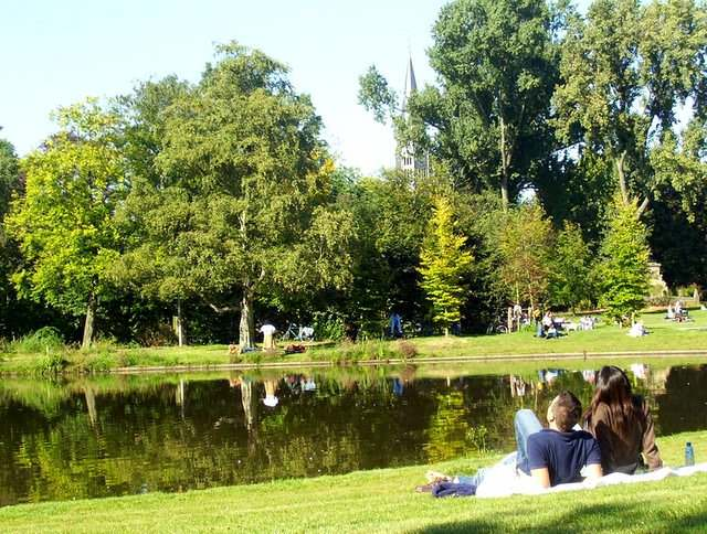People Relaxing in Amsterdam's Vondelpark