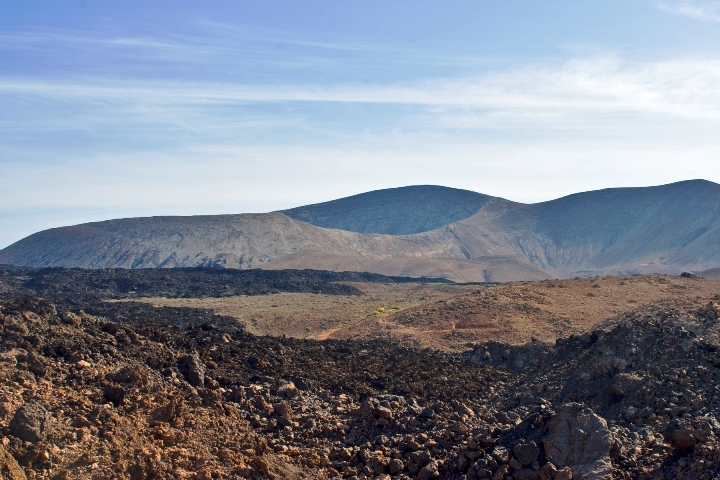 Volcanic cones and lava rivers of Lanzarote, Spain