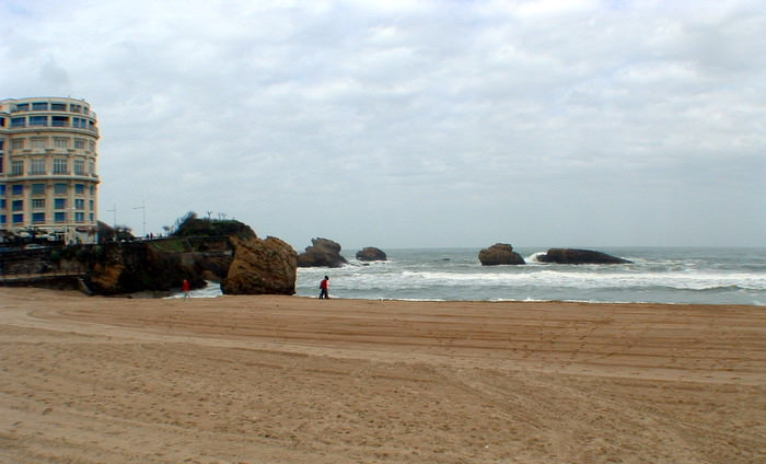 Biarritz's long stretch of beach hosts many a surfing competition