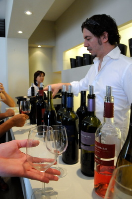 Paolo Cantele pouring wine at Cantele Winery