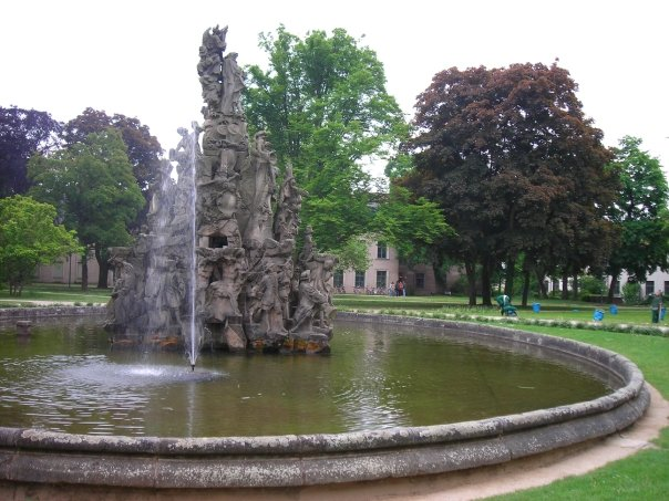 An ornate fountain in the Schlossgarten.