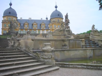 The impressive cascading staircase at Schloss Seehof
