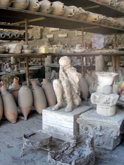 A cast of the dead in Pompeii