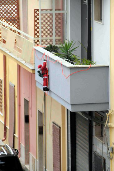 Santa delivering gifts