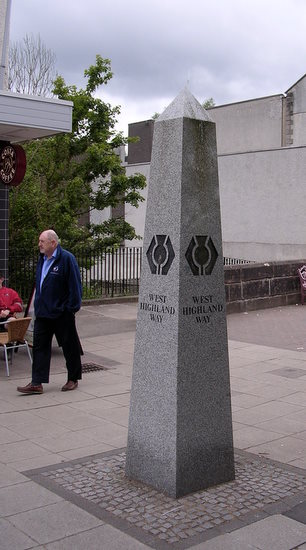 The obelisk in Milngavie that marks the beginning of the WHW