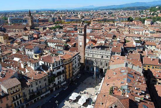 Verona Piazza Erbe from the Lamberti tower
