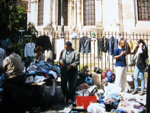 Sidewalk vendors outside a church in Toulouse