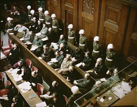 Defendants in the dock at nuremberg trials