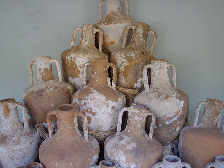 Amphoras recovered from the sea