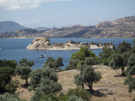 Lake Bafa and monastery on a small island