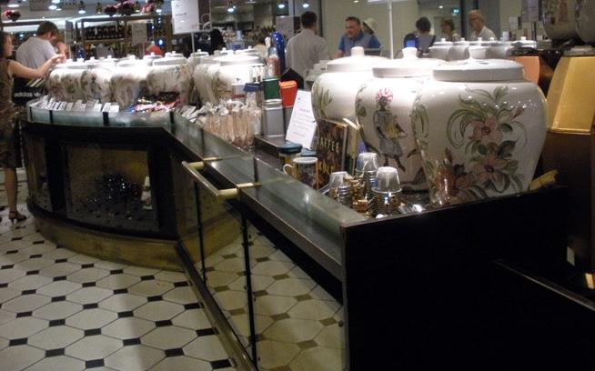 Huge ceramic jugs of loose leaf tea