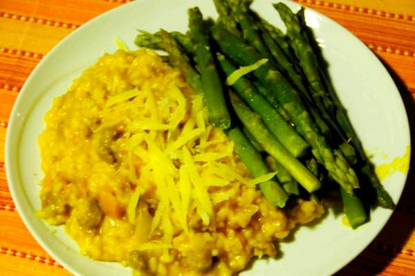 Plated Sausage and Squash Risotto