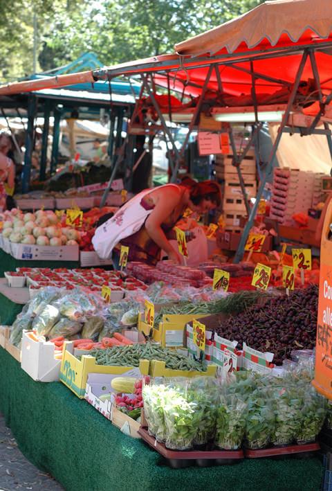 Stalls of fresh produce at Kreuzberg market