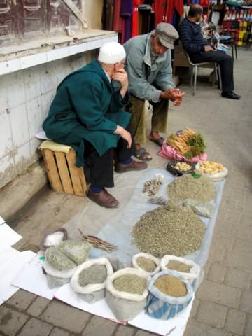Merchants selling herbs in the medina