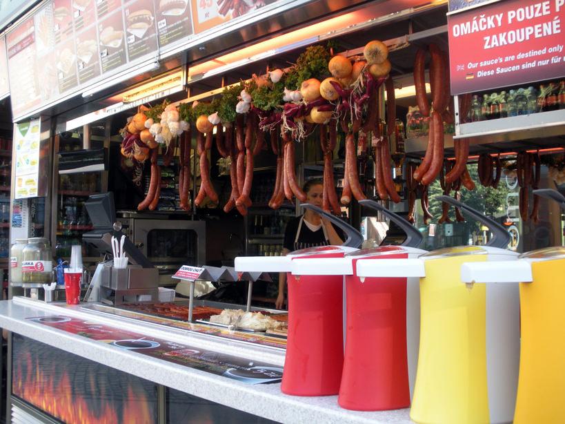 Fast food stands line Wenceslas Square