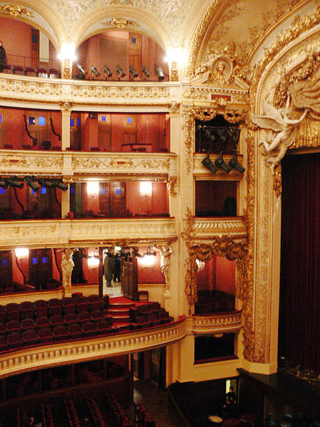 Opulent interior of the Opera Comique in Paris 2nd Arrondissement