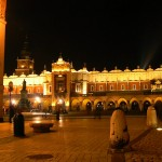 Sukiennice (the cloth Hall) at night in Krakow