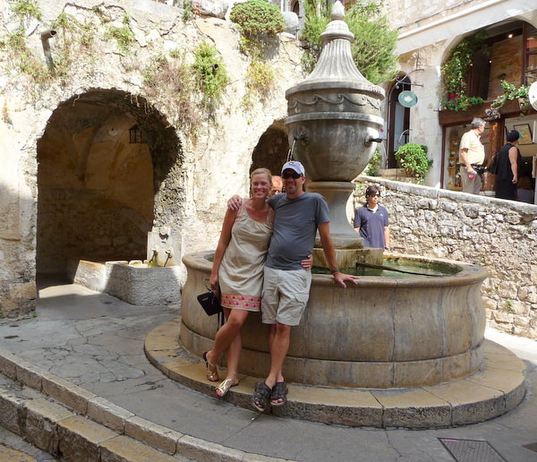 Posing at the fountain in  St. Paul de Vence