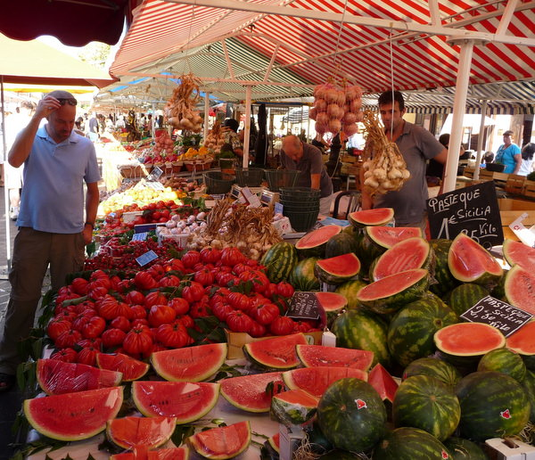 watermelons for sale at Nice's market