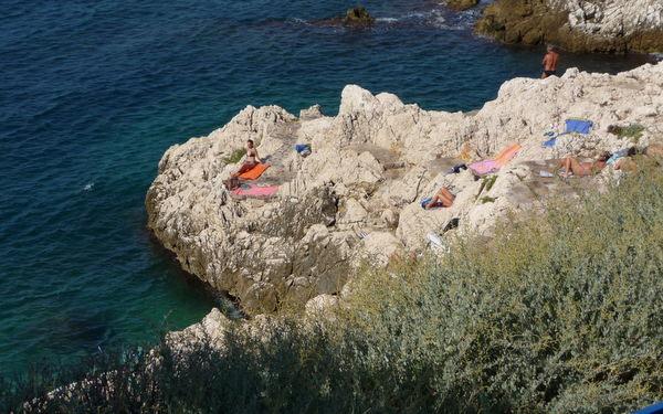 The rocky coastline in Nice, France