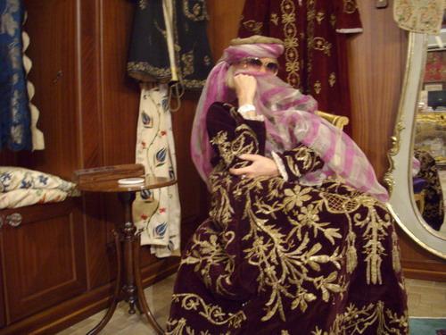 wearing an antique Ottoman kaftan at the sadberk hanim museum