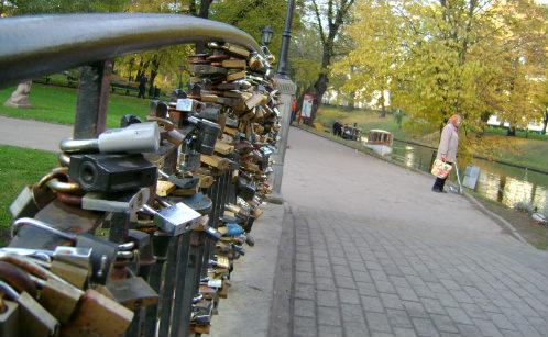 Locks of love on Bridge in Riga