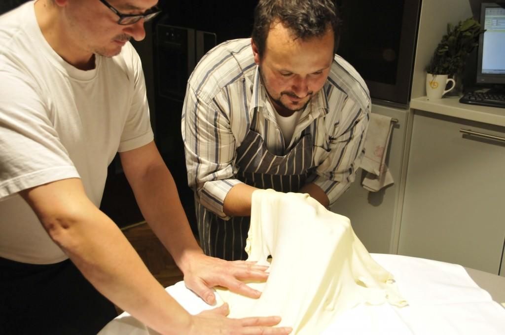 The Chefs Preparing Strukli Dough, a part of Zagreb cuisine