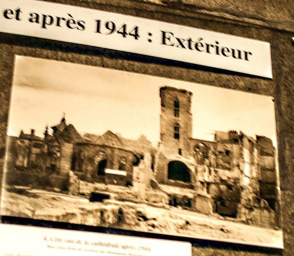 a very poor photo of the cathedral after it was destroyed by allied bombing in 1944