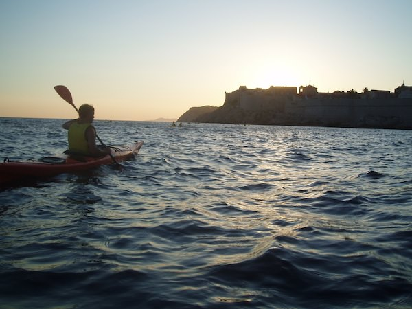 Kayaking toward Dubrovnik