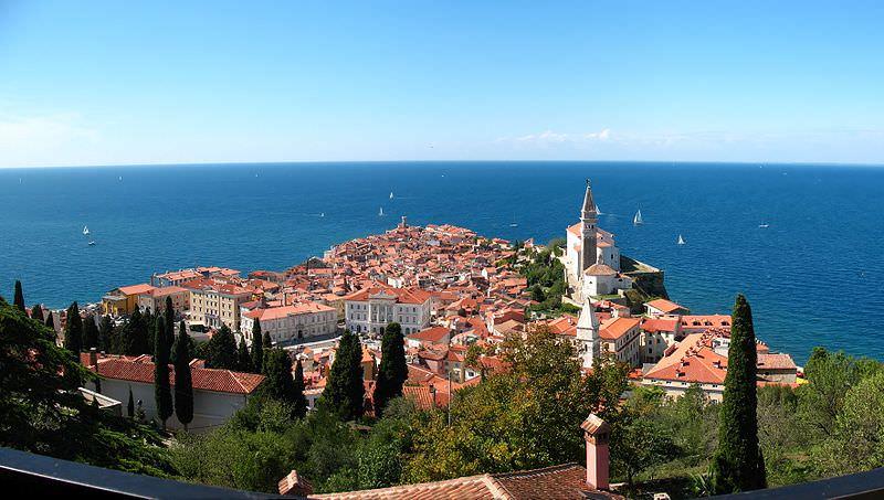 Piran, Slovenia overlooking the sea