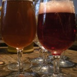 Samples of the faro, left, and the framboise beers
