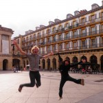 Joyful jump in San Sebastian