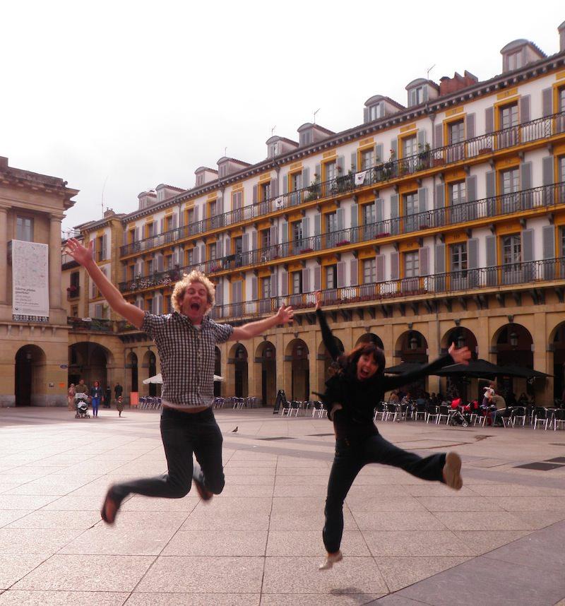 Joyful jump in San Sebastian
