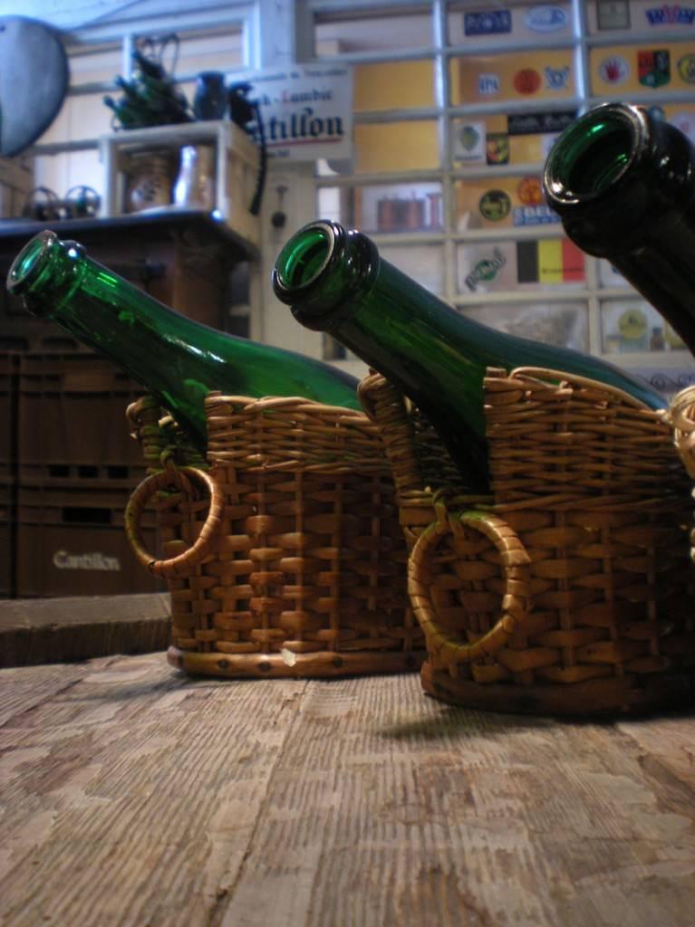 Bottles of gueuze, kriek and framboise