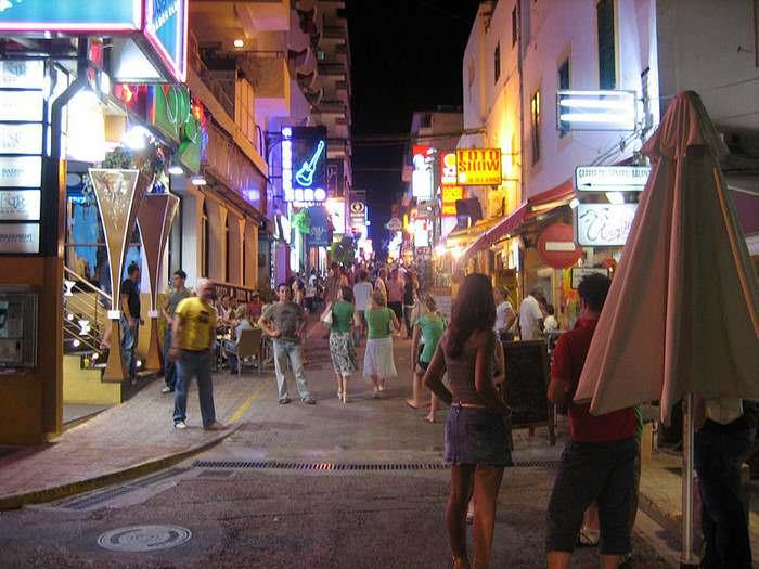 The streets of Ibiza at night