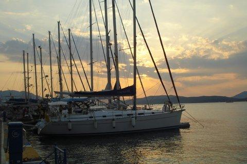 Poros yachts at dusk