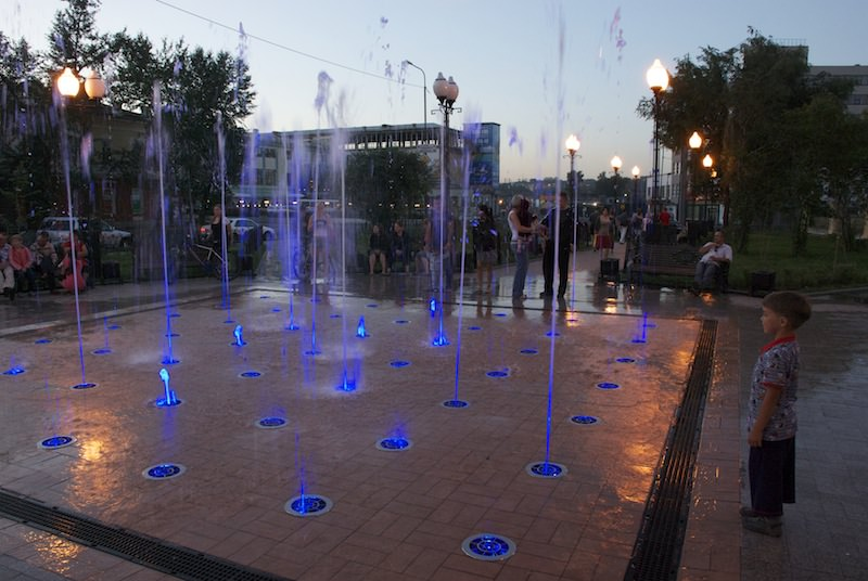 Modern fountain in Irkutsk