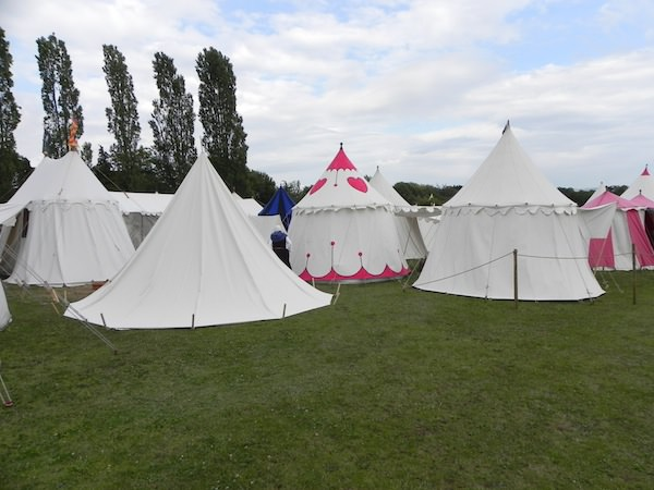 recreated tent village at Tewkesbury