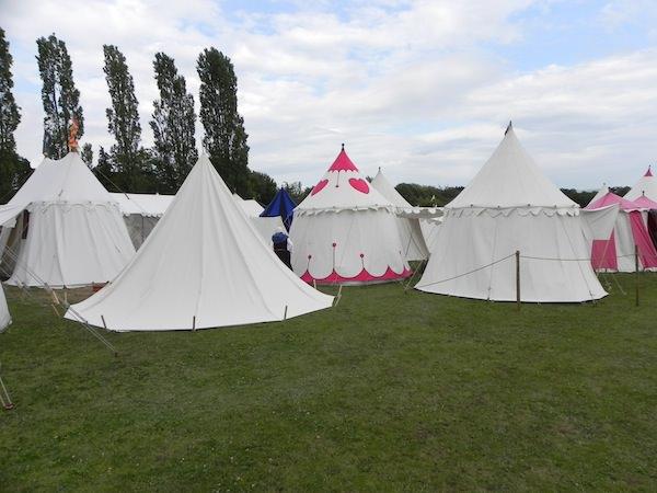 recreated tent village at Tewkesbury