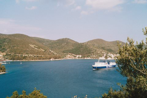 Ferry arriving in Ithaka