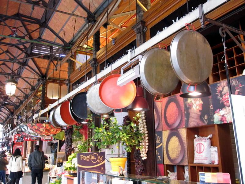 Paella pans at Mercado de San Miguel