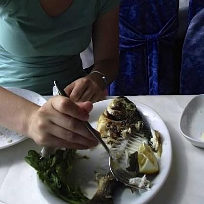 Eating seafood on Bosphorus