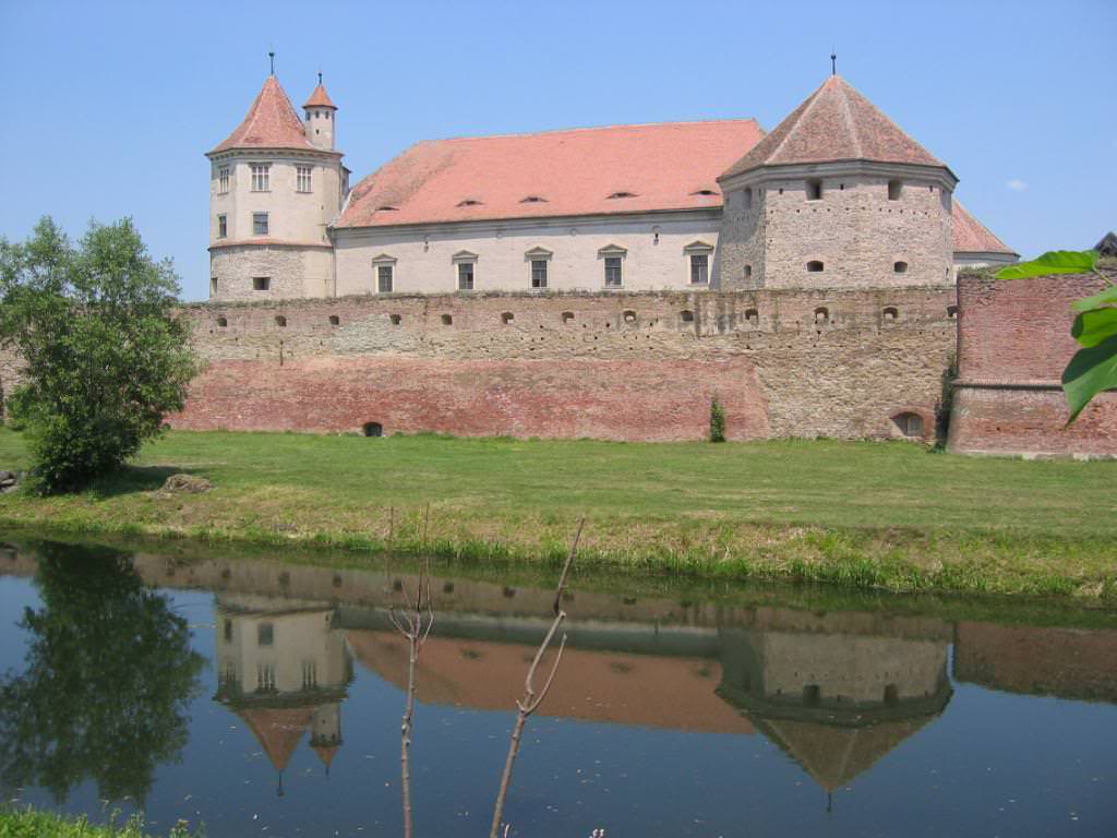 Fagaras Castle surrounded by the moat