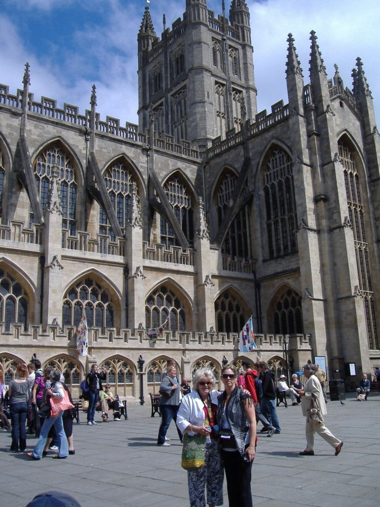 Ruth in front of Bath Cathedral