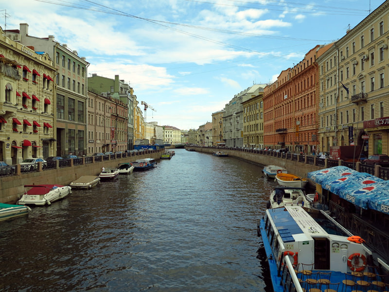 Venice-like streets along canals in St. Petersburg