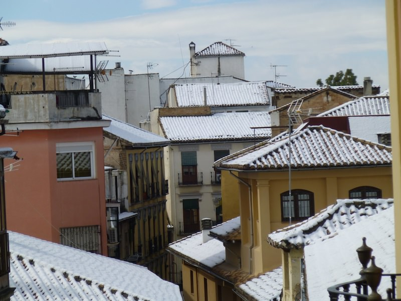 Snow covered roofs after a winter storm in Granada