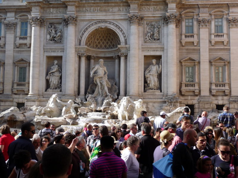Crowds at the Trevi Fountain